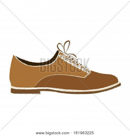 color sketch of male leather shoe with shoelaces vector illustration
