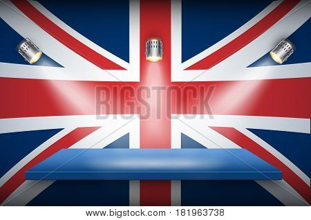 Great Britain flag and platform with spotlights. Symbol of authentic and quality. Vector Illustration.