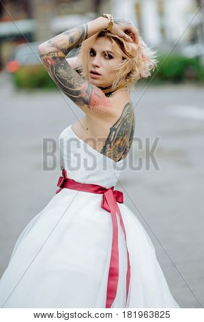 Beautiful Bride With Tattoo At Wedding Morning