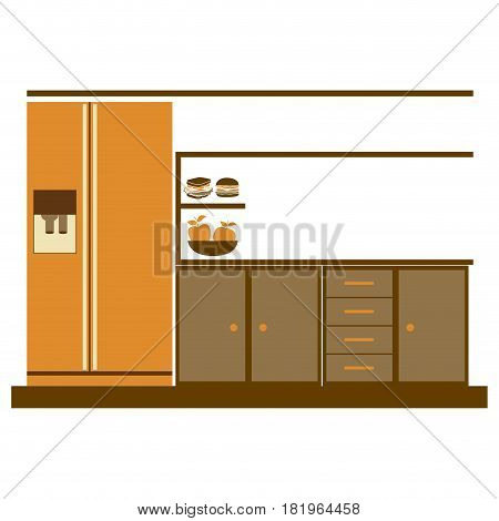 color silhouette of lower kitchen cabinets with fridge vector illustration