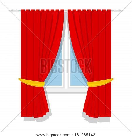 Vector illustration window treatments red curtains for house or home interior.