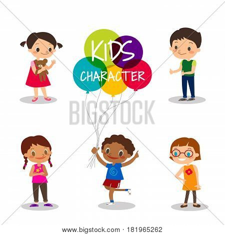 Preteen kids cartoon characters isolated on white background