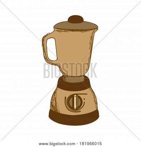 sepia silhouette with kitchen blender vector illustration
