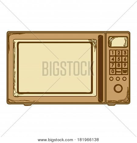 sepia silhouette with oven microwave vector illustration
