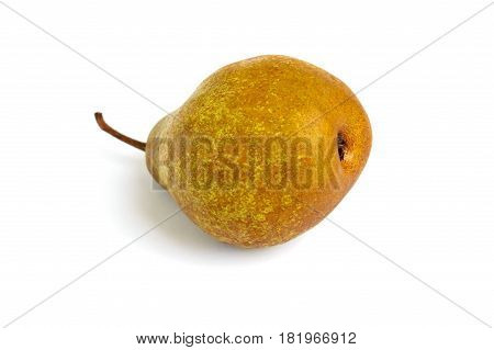 A large yellow (brown) pear lies on its side isolated on a white background.