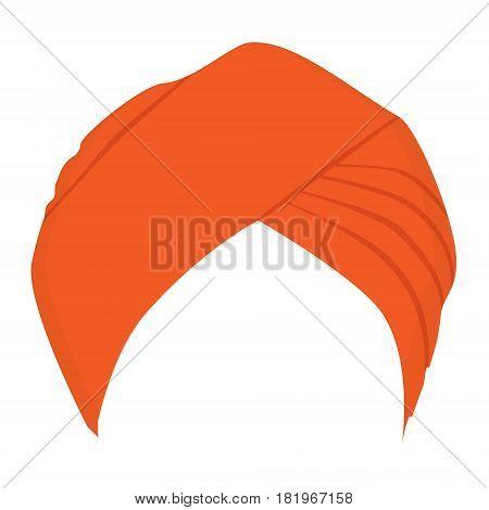 Vector illustration orange turban headdress isolated on white background. Sikh turban icon.