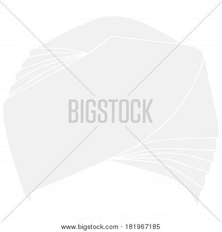 Vector illustration white turban headdress isolated on white background. Sikh turban icon.