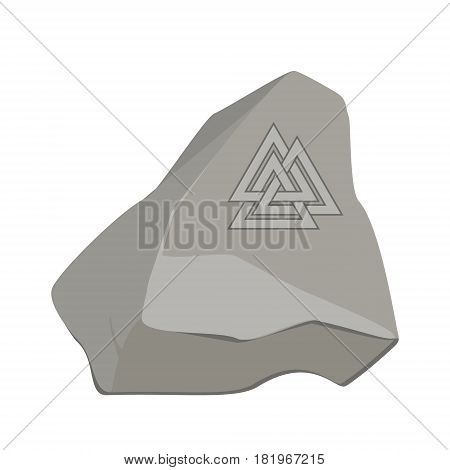 Valknut symbol of the world end of the tree Yggdrasil on stone rock. Sign of the god Odin. It refers to the Norse culture. Triangle logo. Viking Age symbol.