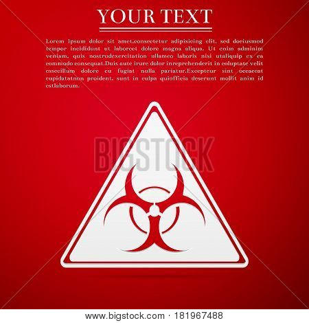 Triangle sign with a Biohazard sign flat icon on red background. Vector Illustration