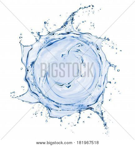 Splashes of water in the form of a swirling vortex isolated on white background