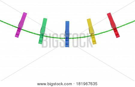 colored clothespins on rope isolated on white background