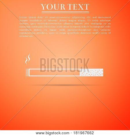 Cigarette icon. Tobacco sign. Smoking symbol flat icon on orange background. Vector Illustration