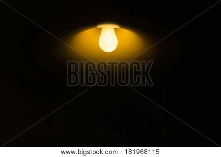 Light bulbs in the dark room , abstract think