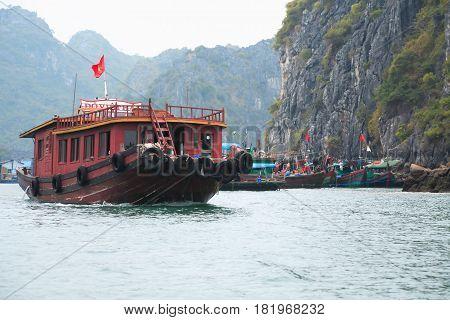 Halong Bay Vietnam - March 6 2017: harbor at Cat Ba island Halong Bay Vietnam