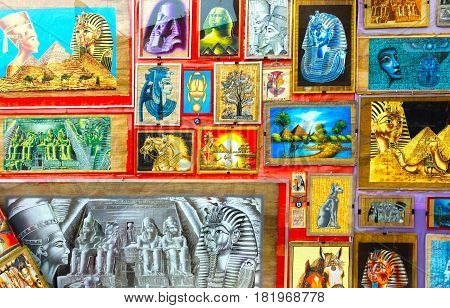 Sharm El Sheikh, Egypt - April 13, 2017: Various of papyrus with elements of egyptian history - objects displayed in shop in the bazaar at Sharm El Sheikh, Egypt on April 13, 2017