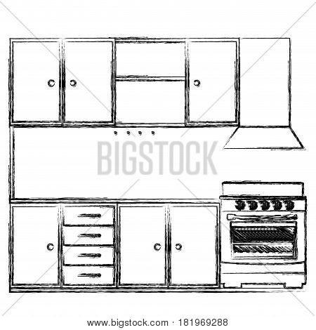 monochrome sketch of kitchen cabinets with stove and oven vector illustration