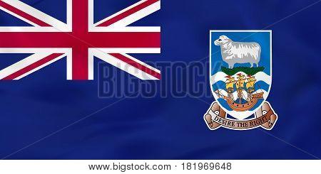 Falkland Islands Waving Flag. Falkland Islands National Flag Background Texture.