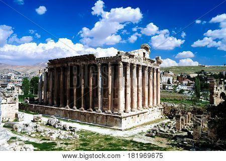 Ruins of Bacchus temple in Baalbek Bekaa valley Lebanon