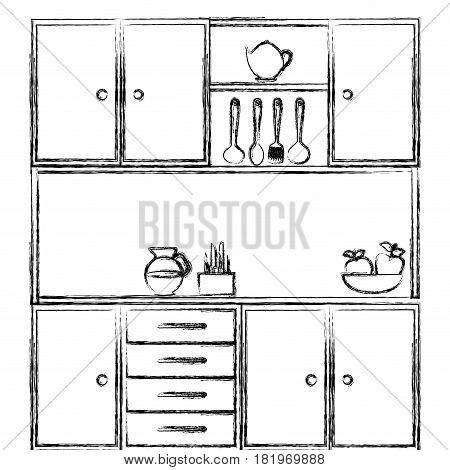monochrome sketch of kitchen cabinets with utensils vector illustration