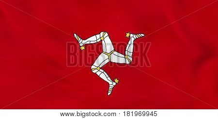 Isle Of Man Waving Flag. Isle Of Man National Flag Background Texture.