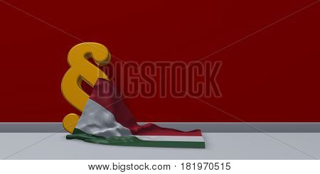 paragraph symbol and flag of hungary - 3d rendering