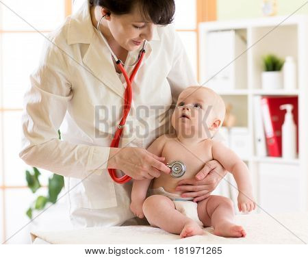 Female doctor pediatrician and patient baby infant
