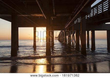 Dania beach fishing pier at sunrise. Hollywood beach Florida United States