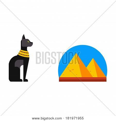Vector flat design egypt pyramid travel icon sacred animal element illustration. Landmarks culture ancient history africa pyramid sign egypt icons collection scarab silhouette.