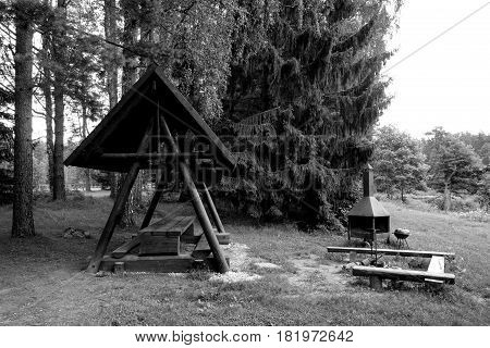 Free shelter for hikers in Estonia black and white