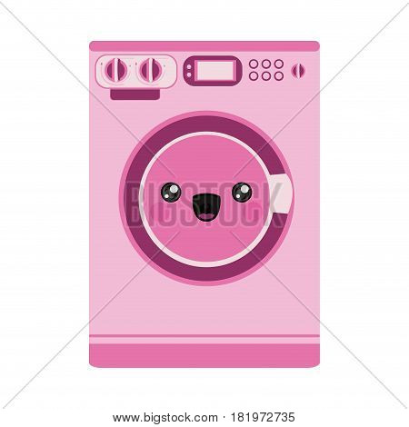 pink color silhouette of cartoon washing machine vector illustration