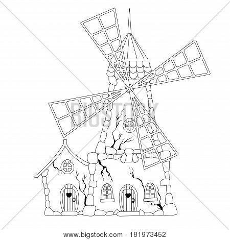 Coloring book: Abandoned windmill on a white background