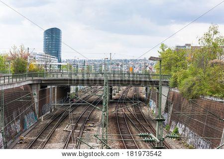Stuttgart Railroad Cityscape Vaihingen Bahn Hochhaus Tracks