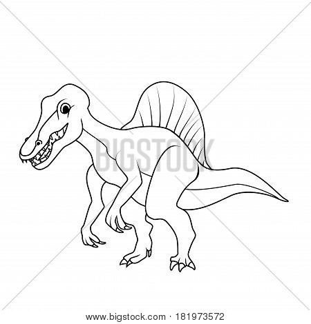 Coloring book: Spinosaurus dinosaur on a white background