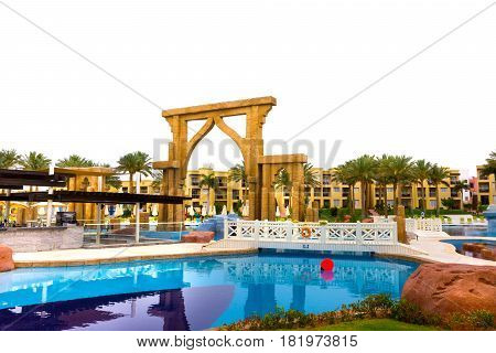 Sharm El Sheikh, Egypt - April 13, 2017: The view of pool and park at luxury five stars hotel RIXOS SEAGATE SHARM in Sharm El Sheikh, Egypt on April 13, 2017
