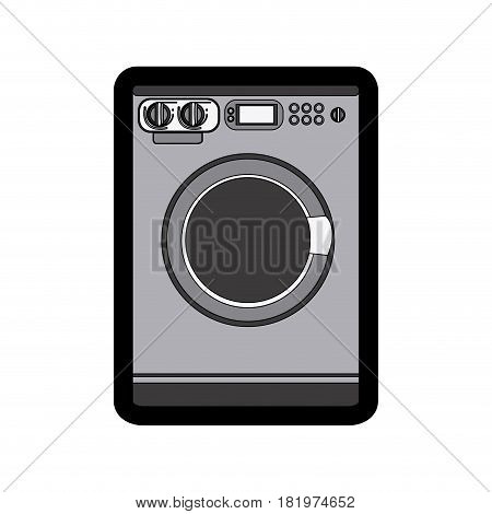 monochrome thick contour of washing machine vector illustration