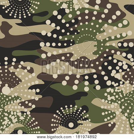 Camouflage and halftone pattern background seamless mask clothing print. Repeatable camo vector. Dazzle paint masking abstract illustration