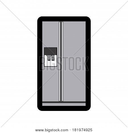 monochrome thick contour of fridge with water dispenser vector illustration