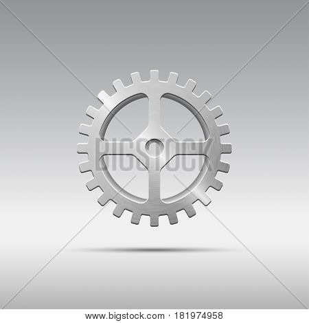 Icon metal gear with cogs and four spokes isolated on grayscale background. Brushed texture. Vector illustration