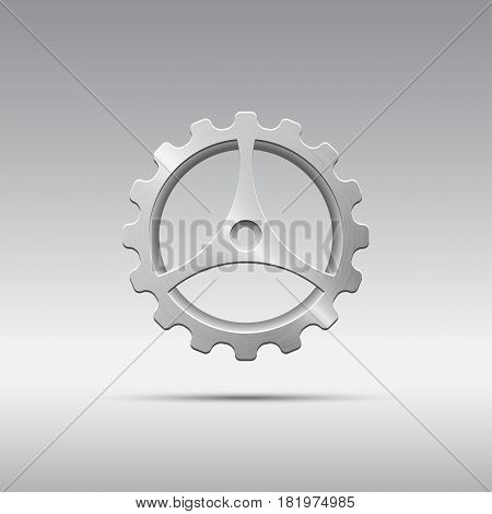 Icon metal gear with cogs and three spokes isolated on grayscale background. Brushed texture. Vector illustration