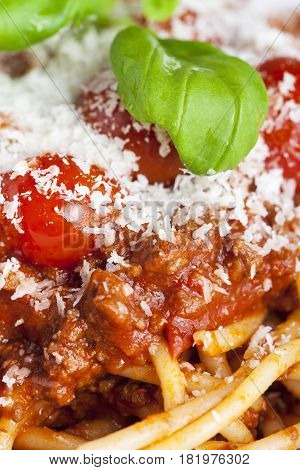 portion of spaghetti bolognese on a plate