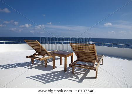 Deck chairs on the boat