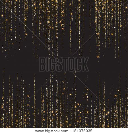 Festive explosion of confetti. Gold glitter background for the card, invitation. Holiday Decorative element. Illustration of falling shiny particles and stars isolated on dark background.