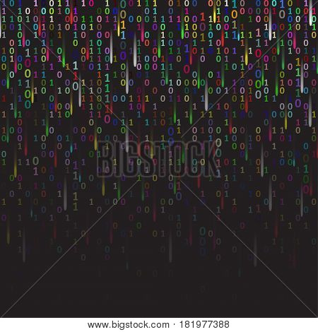 Binary code colored and dark background with fireworks, digits on screen. Algorithm binary, data code, decryption and encoding, row matrix, vector illustration.