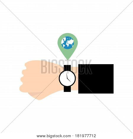 Local time on the white background. Vector llustration