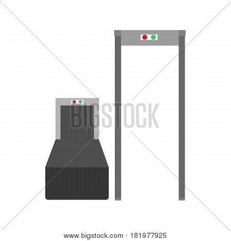 Metal detector at the airport on the white background. Vector llustration
