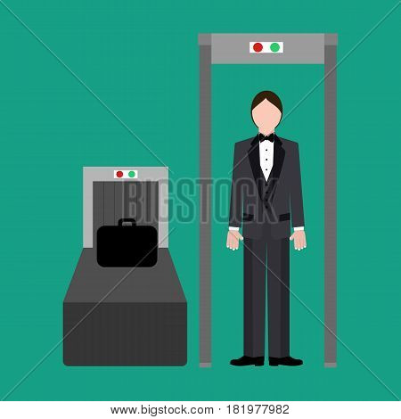 Metal detector at the airport on the green background. Vector llustration
