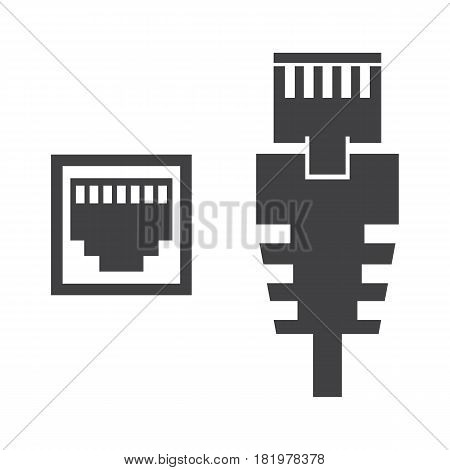 RJ45 cable on the white background. Vector llustration