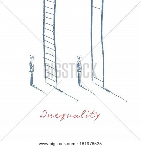Business inequality concept vector with two businessman standing in front of different corporate ladder symbols. Hand drawn sketch. Eps10 vector illustration.