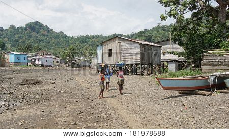 RIBEIRA AFONSO, SAO TOME - JANUARY 29, 2017: Fishermen village Ribeira Afonso on Sao Tome Island on January 29, 2017 in Sao Tome and Principe, Africa