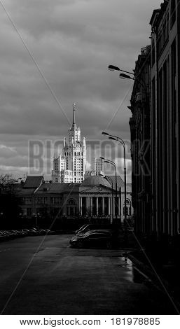 Residential building on Kotelnicheskaya Stalinist skyscraper in Moscow is at the mouth of the Yauza river black and white close-up photos